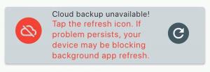 Cloud backup warning