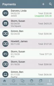 Payments list
