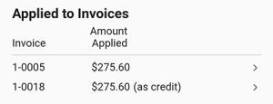 Payment's invoice list