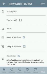 Tax edit screen