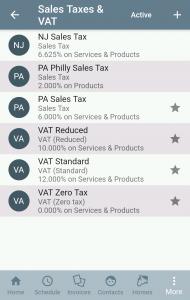 Tax list screen